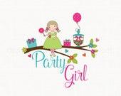 Premade Party Logo Candy Jar Logo Balloon Logo Hand Drawn Small Business Branding Logo Girl Logo Design Bespoke Logo Design Boutique Logo