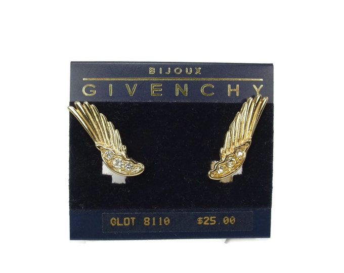 Givenchy Earrings, Clip Ons, Rhinestone Earrings, Mint on Card, Estate Jewelry, Wing Earrings, Givenchy Bijoux, Vintage Jewelry, Earrings