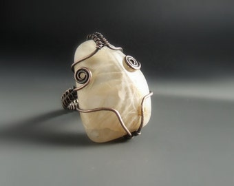 Real moonstone ring, statement copper ring, big healing stone jewelry, unique gift for her, size 9