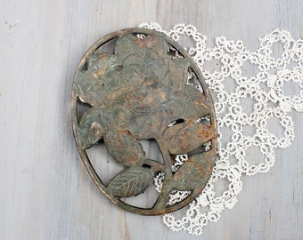 Vintage Rose Trivet, Shabby Home Decor