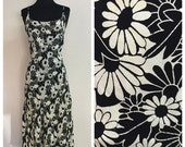 60% OFF Vintage 1990s Black and White Floral Rayon Lace Up Back Midi Dress S (k)