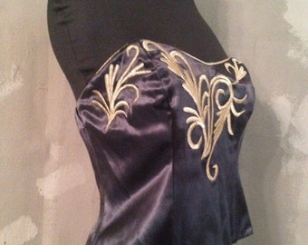 40% OFF Vintage 1990s (C) Black and Gold Strapless Corset Bustier Blouse XS/S