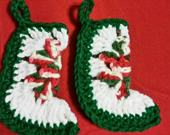 Set of 2 Crocheted Mini Granny Square Stocking Christmas Ornaments RTS