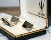 SWANK Vintage Cufflinks and Tie Clip Set Silver Tone, Cuff Links