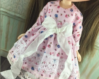 Blythe Long Sleeve Spring Dress with Bloomers - Pink and Blue