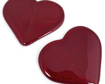Fused Glass Coasters Red Valentine Love Heart - set of 2
