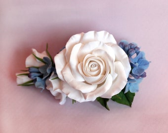 Barrette with roses and hydrangea, barrette with flowers, floral jewelry, flower jewelry, polymer clay jewelry, hair barrette