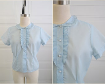 1950s Pale Blue Ruffled Blouse