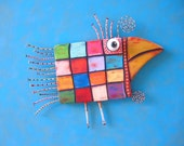Checkered Chicken, RESERVED, Original Found Object Wall Sculpture, Wood Carving, Wall Decor, by Fig Jam Studio