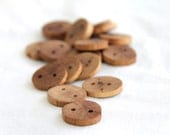6 small oak buttons - 1""