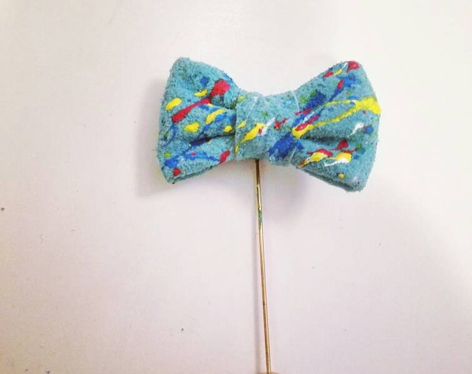 Splatastic Teal Leather Bow Lapel Pin -Special Edition