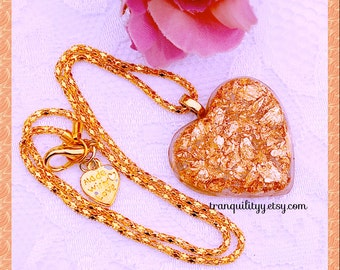 Gold Leaf Heart Necklace, Flakes Resin Heart Necklace , Gold Resin Heart , Valentine Sweetheart, Handmade By: Von'Dez Redman