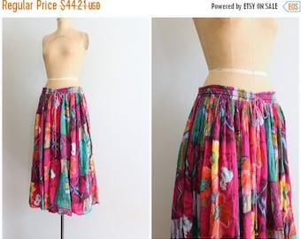 20% SALE cotton gauze floral print skirt - colorful India gauze / hippie skirt - Indian cotton skirt / bright boho skirt - festival skirt -