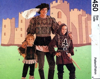 Vintage McCalls 8450 Mens Renaissance Medieval Costume Leggings Doublet Sewing Pattern Size 46 and 48 UNCUT