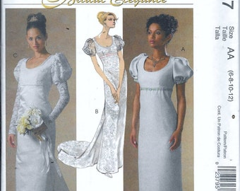 McCall's M4777 Bridal Elegance Empire Edwardian Dress Wedding Gown Sewing Pattern 4777 Size 6, 8, 10 and 12 UNCUT