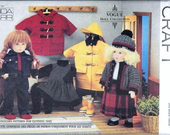 "Vogue 8556 Doll 18"" American Girl Doll Winter Clothes Sewing Pattern Coat by Linda Carr UNCUT 451"