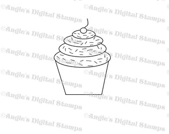 Cupcake With Sprinkles Digital Stamp Image