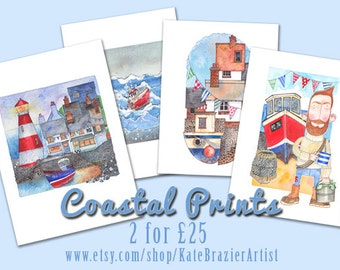 Any Two Coastal Prints for Twenty Five Pounds - Artist Kate Brazier