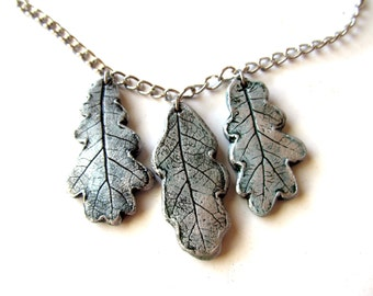Necklace 3 White Oak Real Leaf Impressions in Clay in Silver and Green Patina on Silver tone chain