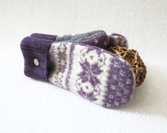 Wool Mittens PURPLE & GRAY Grey Nordic Fair Isle Felted Sweater Wool Gloves Fleece Lined Mitts Eco Gift Under 50 for Women Her by WormeWoole