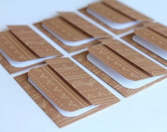 NEW -Mini Cards n Envelopes - Set of 6 - Mocha Chocolate Brown with Delicate Designs