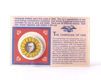 Alf Landon Kansas sunflower campaign pinback button, vintage 1972 repro of 1936 presidential election badge, US presidents, gas station