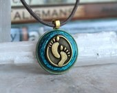 blue footprint necklace, mens jewelry, mens necklace, unique gift, foot jewelry, hippie jewelry, surfer jewelry, ecological footprint
