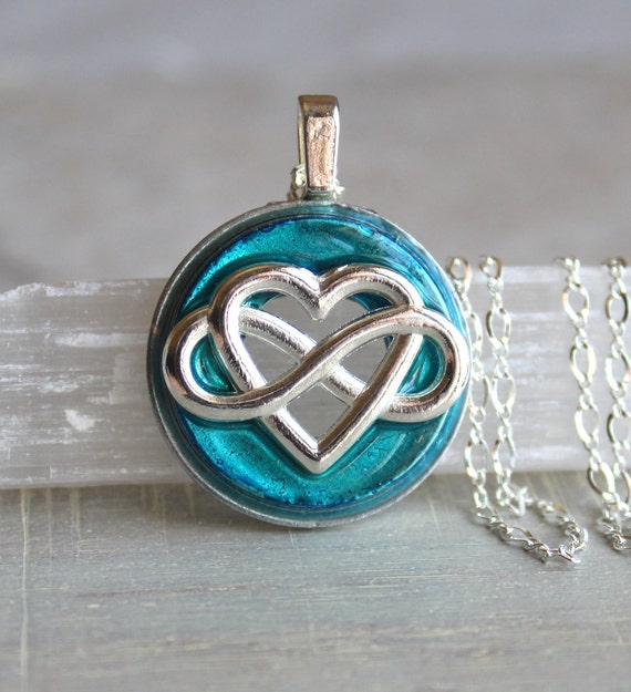 sky blue infinity heart necklace, forever love, heart jewelry, unique gift, romantic gift, wedding jewelry, infinity jewelry, anniversary