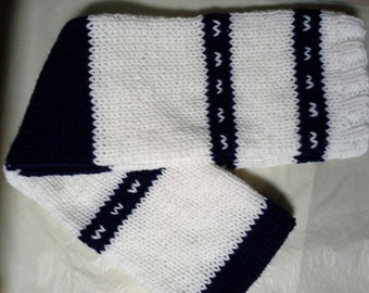 Striped Scarf,  Blue and White Scarf