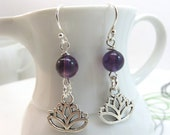 Purple amethyst earrings - silver lotus flower earrings - beaded gemstone earrings - new age earrings - lotus charm earrings sterling hooks