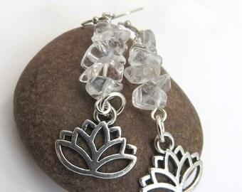 Clear quartz crystal earrings - silver lotus flower earrings - beaded gemstone earrings - gemstone chip earrings - lotus charm earrings