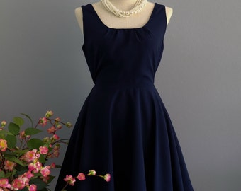 Navy bridesmaid dress party prom cocktail gown