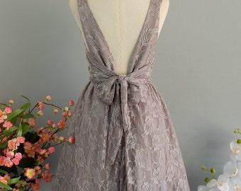 Party V Backless Dress Gray Lace Backless Dress Prom Party Dress Gray Lace Bridesmaid Dress Cocktail Bow Dress Night Lace Dress XS-XL