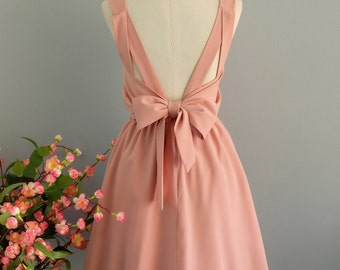 Party V Backless Dress Pink Nude Dress Backless Dress Prom Party Dress Wedding Bridesmaid Dress Cocktail Dress Homecoming Dress Custom Made