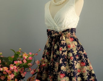 My lady II - Spring Summer Sundress White Lace Top Navy Floral Skirt Floral Bridesmaid Dress White Lace Dress Party Dress Floral Dress XS-XL