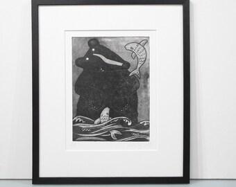 Bearst Of Friends - black bear print, black bear art print, limited edition brown bear print handprinted grizzly bear print bear unframed