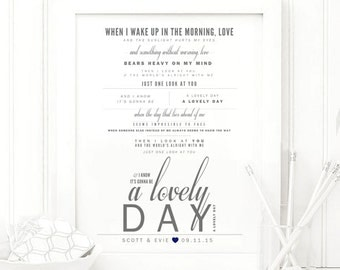 "Gray & Navy, Bill Withers ""Lovely Day"" - Valentine's, Wedding Gift, Paper Anniversary Gift, Song Lyrics, Art Print"