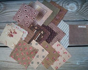 Vintage Quilt fabric Squares, Browns