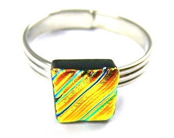 """Dichroic Glass Ring Tiny Adjustable - 1/4"""" / 8mm - Golden Copper Orange Ripple Wavy Ripples Textured Fused Glass"""