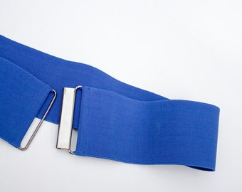 "blue waist belt for women - 3.1"" wide stretch waist belt cinches your waist"