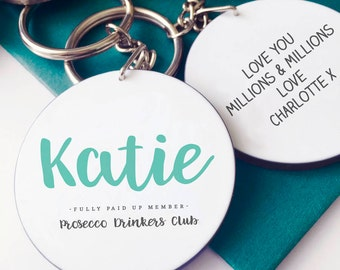 Prosecco Club Member Personalised Keyring