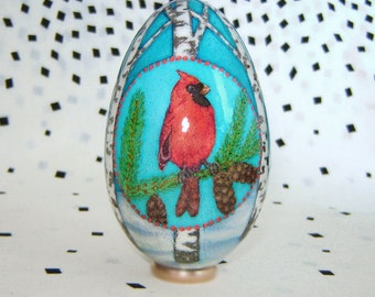 Winter birds. Goose egg. Pysanka.