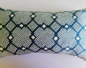 Teal Silk Shibori Pillow Cover - Vintage Modern Throw Pillow Cover - Repurposed Kimono