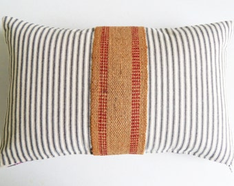 Black Striped Ticking Pillow Cover with Red Jute Webbing - Rustic Farmhouse Decor - Industrial Throw Pillow