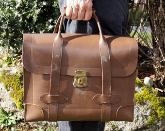 1930's Military Issue Brown Leather Briefcase