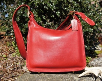 Authentic Coach Red Leather Legacy Bag Purse