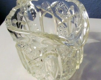 SWEETHEARTSALE Vintage LE Smith Glass Clear Quintec Creamer,EAPG , Tall Cut Glass Creamer/Pitcher