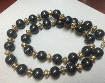 "Vintage 23"" Large Goldtone & Black Beaded Single Strand Necklace"