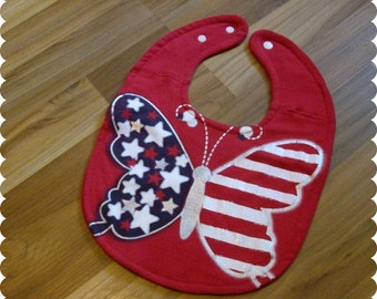 Butterfly Baby Bib, Patriotic American Flag 4th of July, Recycled T-Shirt Baby Bib, Baby Girl Gift, Baby's First 4th of July