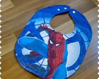 Spiderman Superhero Baby Bib, Recycled T-Shirt Baby Bib, Baby Shower Baby Boy Gift, Superhero Baby